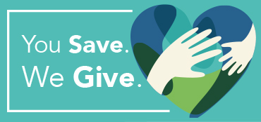 You Save. We Give. Icon of hearts and hands.